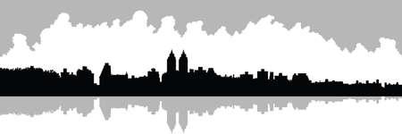 central park: Silueta Skyline de Upper West Side en Nueva York, EE.UU.. Ver a trav�s de dep�sito en Central Park.