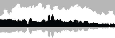 city view: Skyline silhouette of Upper West Side in New York City, USA. View across reservoir in Central Park. Illustration