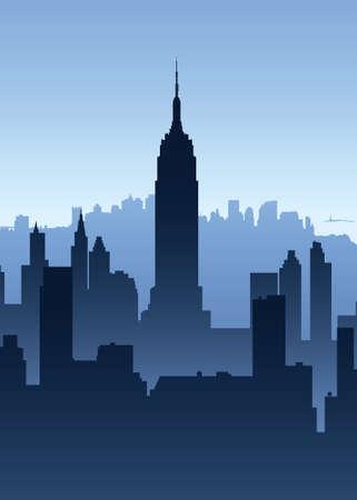 米国ニューヨーク市のスカイラインのシルエット。