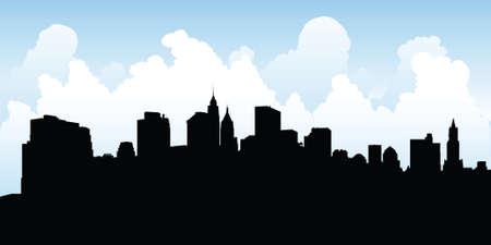 ロウアー ・ マンハッタン、ニューヨーク市、米国のスカイライン シルエット。