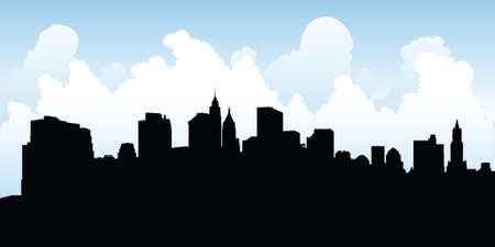 hudson river: Skyline silhouette of Lower Manhattan, New York City, USA. Illustration