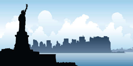statue of liberty: Silhouette of the Statue of Liberty looks over the skyline of Lower Manhattan. Illustration