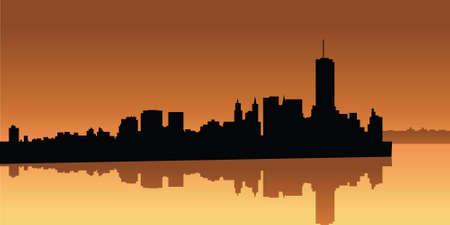 world trade center: Skyline silhouette of Lower Manhattan in 1979.