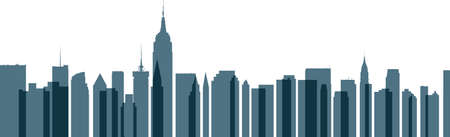 new york skyline: Skyline silhouette of New York City, USA with transparent, overlapping buildings. Illustration