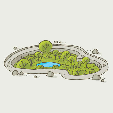 A sunken cartoon oasis of green trees and water. Vector