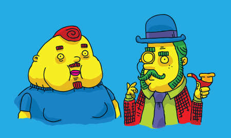 Two cartoon men in a bright style. Ilustrace