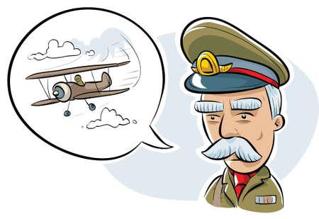 이곳에 대해 이야기 복고풍 만화 군 장교.