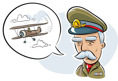 general: A retro cartoon military officer talking about a biplane. Illustration
