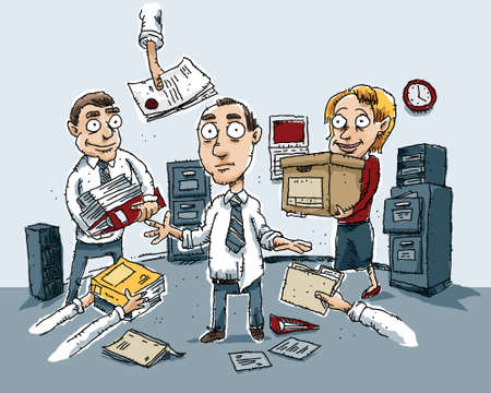 filing documents: A cartoon scene of total confusion in an office. Illustration