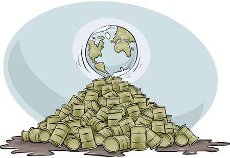 toxic barrels: A cartoon globe at the peak of a pile of oil barrels.