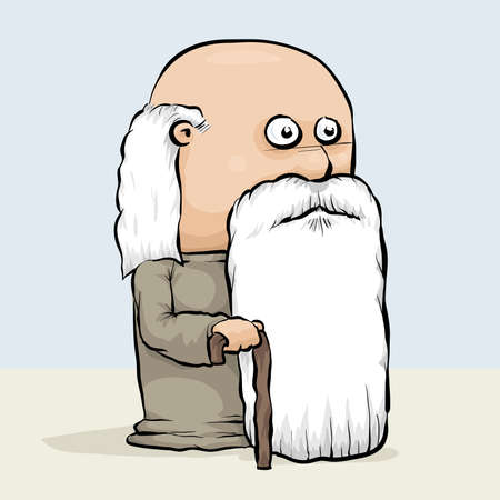 man: A wise, old cartoon man with a cane and a long white beard.