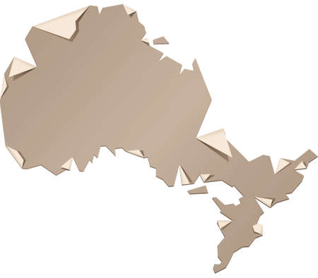 A torn and peeling paper map of the province of Ontario, Canada. Иллюстрация