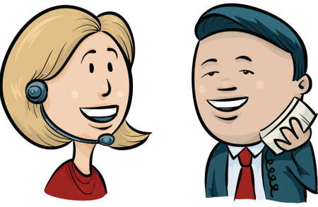 call center female: A cartoon man talking on the phone with a woman at a call center. Illustration