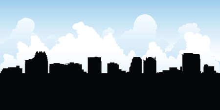orlando: Skyline silhouette of the city of Orlando, Florida, USA.