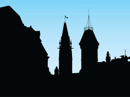 ottawa: Silhouette of the government building on Parliament Hill, Ottawa, Ontario, Canada. Illustration