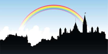 虹はオタワ、オンタリオ州、カナダの都市のスカイラインのシルエット。  イラスト・ベクター素材