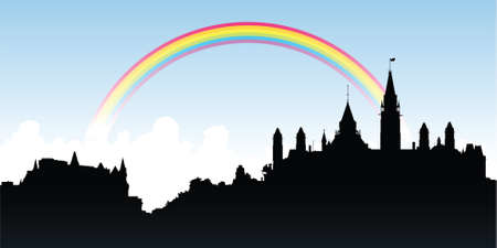 ottawa: Rainbow over a skyline silhouette of the city of Ottawa, Ontario, Canada. Illustration