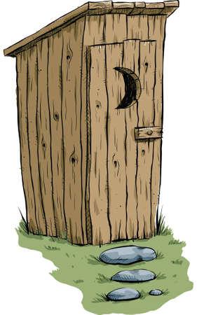 latrine: A retro cartoon outhouse.
