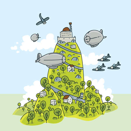 A mountain outpost with zeppelins and planes.