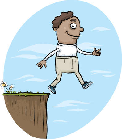 cliff edge: A cartoon man walking off the edge of a cliff. Illustration