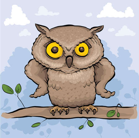 A serious cartoon owl with its wings on its hips.
