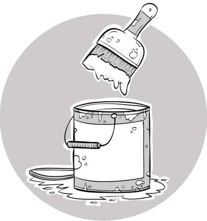 ペイント ブラシの漫画家ペンキの缶に浸した。