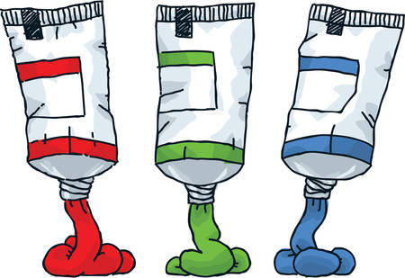 Three cartoon tubes of paint in red, green and blue.