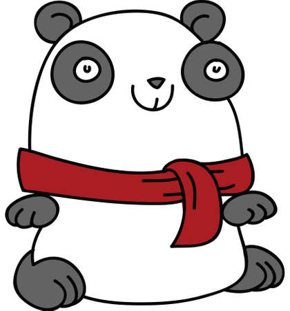 A cartoon panda bear wearing a red scarf.