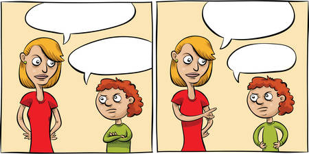 Two cartoon panels of a woman talking with a little girl.