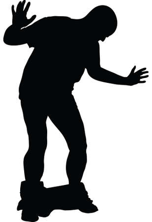 loose: A silhouette of a man reacting to his pants falling down.