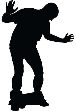 pantalones abajo: Una silueta de un hombre reaccionar a sus pantalones cayendo.