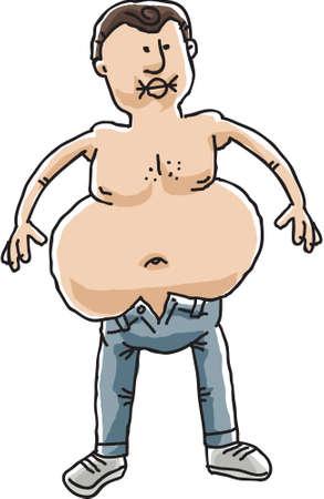 tight body: A cartoon mans big belly stops him from buttoning his tight jeans. Illustration