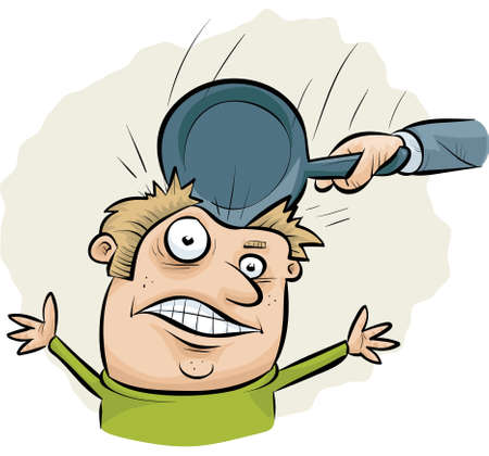 A cartoon man gets smashed in the head by a frying pan.