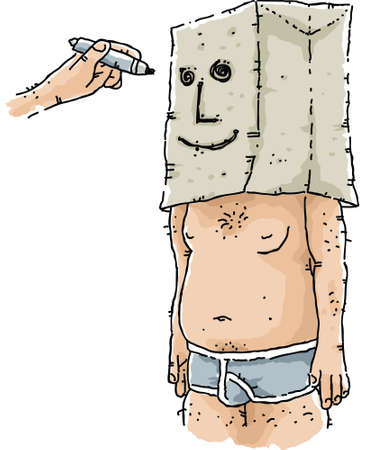 A hand draws a face on a paper bag on the head of a man in his underwear. Vector