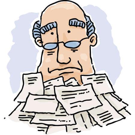 A cartoon man buried under a pile of paperwork. Illusztráció