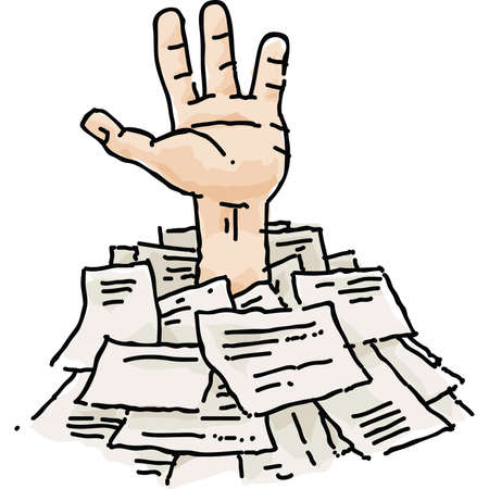 A cartoon hand reaches out from a pile of paperwork. Illustration