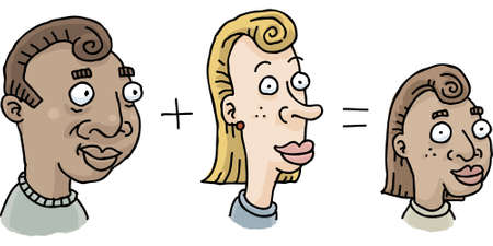 Cartoon showing how a man and womans traits combined to make their child. Vector