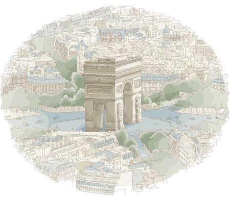 Illustration of the Arc de Triomphe in Paris, France.