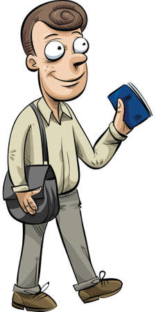 A friendly cartoon man travelling with his passport. Ilustração