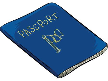 documentation: A cartoon passport document booklet. Illustration