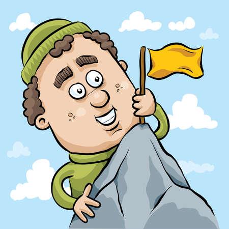 mountaineer: A cartoon mountain climber plants a flag at the summit.