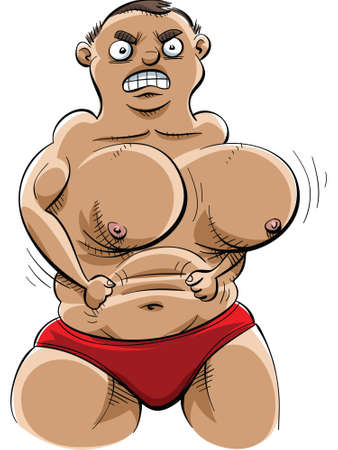 flexing: A cartoon muscle man with extreme pecs but weak arms. Illustration