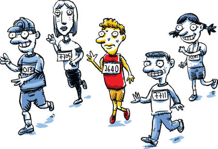competitions: A cartoon man in a running race suddenly needs to pee. Illustration