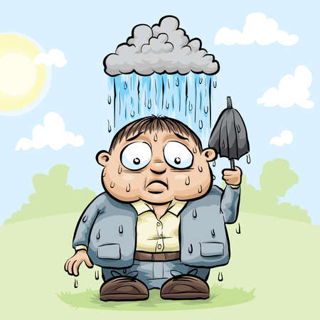 A cartoon man is rained on be his own cloud on a sunny day. Illustration