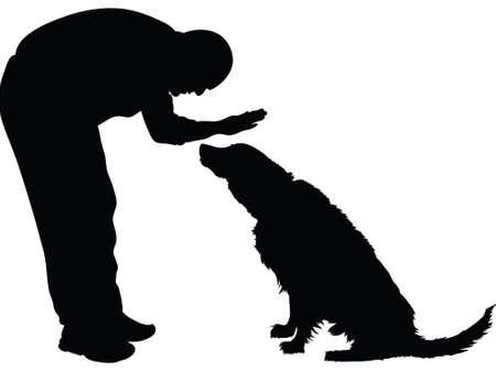obedecer: Silueta de un hombre que acaricia un perro.