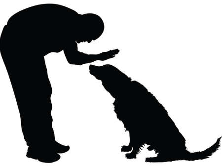 Silhouette of a man petting a dog. Illustration