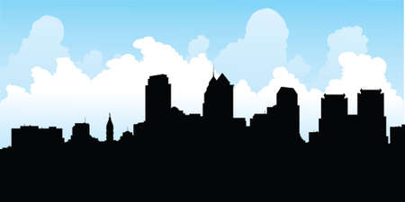 philadelphia: Skyline silhouette of the city of Philadelphia, Pennsylvania, USA.