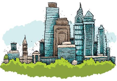 フィラデルフィア、ペンシルベニア州、アメリカ合衆国の都市のスカイラインの漫画。