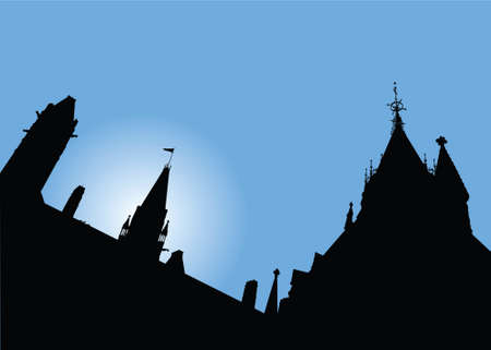 Skyline silhouette of Parliament Hill, Ottawa.