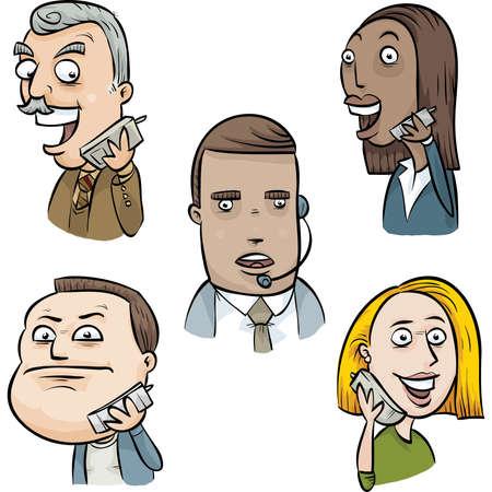 talking: A set of cartoon faces talking on telephones. Illustration